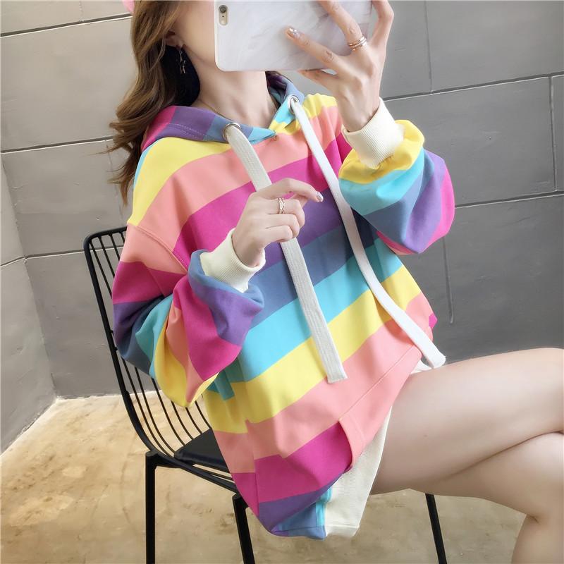 Rainbow Stripes Loose Hoodie Sweater