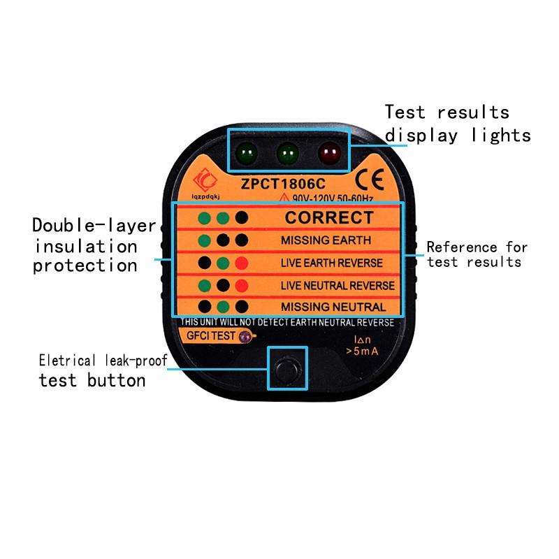 ZPCT1806C Socket safety tester Socket Wire Detector