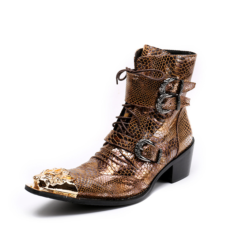 Mens Vintage Leather Buckle Boots