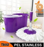 PEL SUPER PRAKTIS STAINLESS ATAU PLASTIK SPIN MOP SUPER PELAN PRAKTIS PEL LANTAI TB01 02