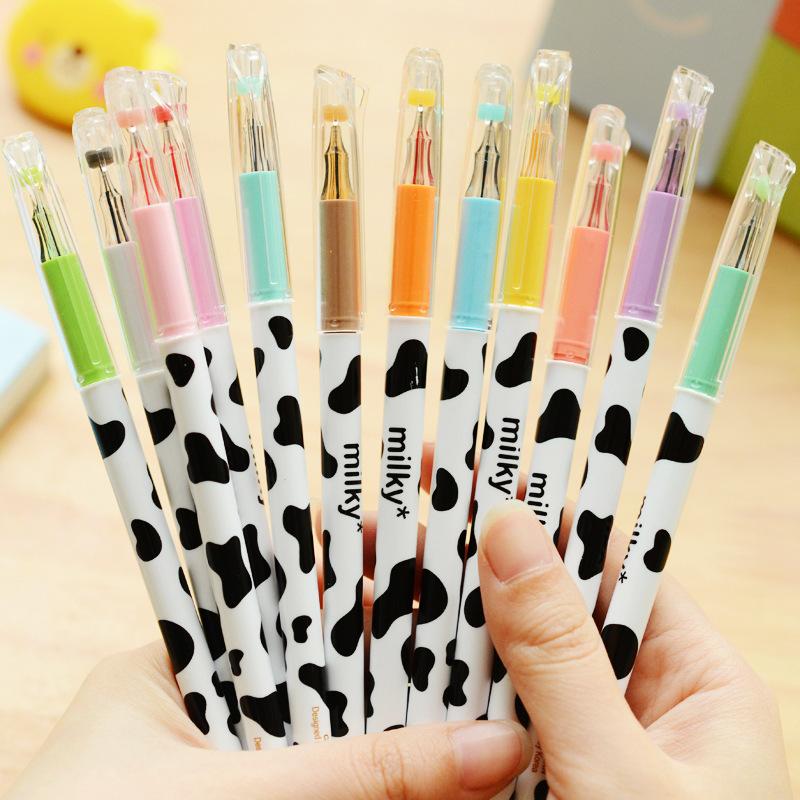 Color Gel Pen Set - Cow Design 12pcs