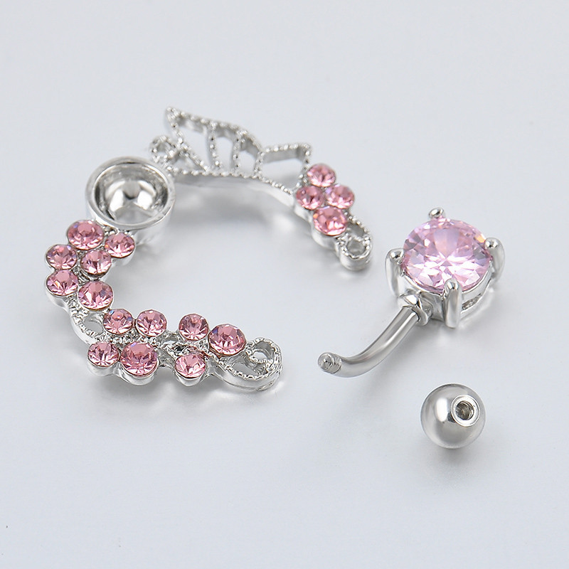 beedc352-fac8-4be0-9d3b-97acef015491 Exchuite Pink Butterfly Zircon Belly Button Ring