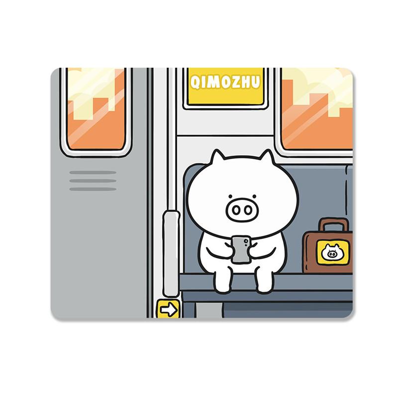 Tapis de souris enfant famille de petits cochons dans le métro