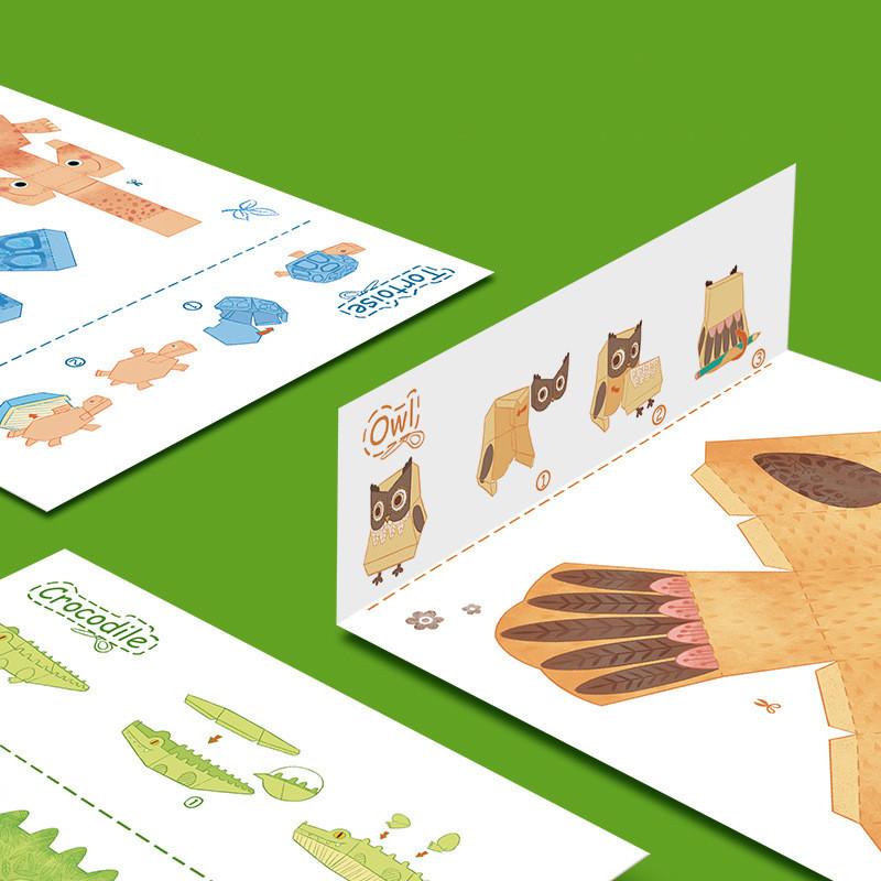 Libro manualidades origami 9 animales 3D_láminas