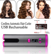 Automatic Hair Curler Curling Iron Wireless Ceramic USB Rechargeable With LED Digital Display