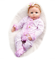 19 inches Katie With Brown Hair and Blue Eyes Reborn Baby Doll