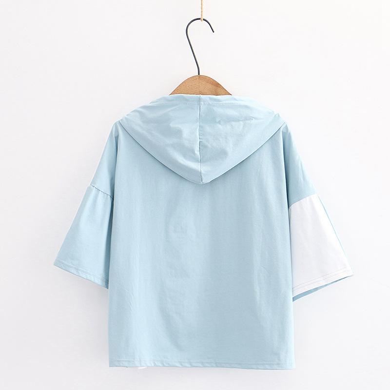 Camiseta manga corta mujer con capucha diseño gato azul parte trasera