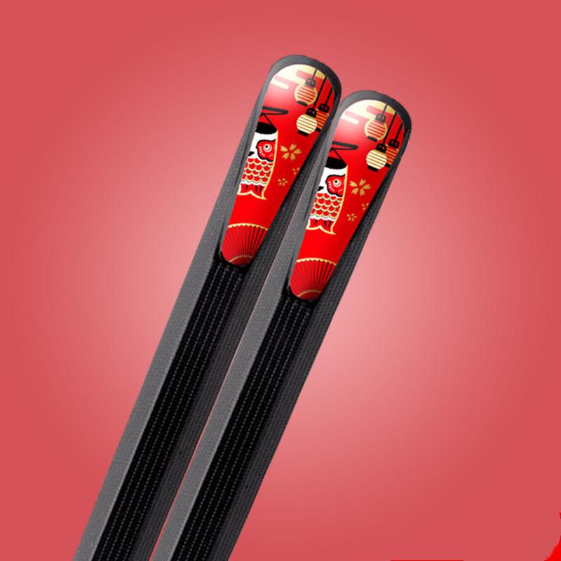 Foto palillos japoneses metálicos, pack 5 pares, diseño farolillos
