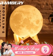 moon lamp 3D print night light Rechargeable 3 Color Tap Control lamp lights 16 Colors Change Remote LED moon light gift