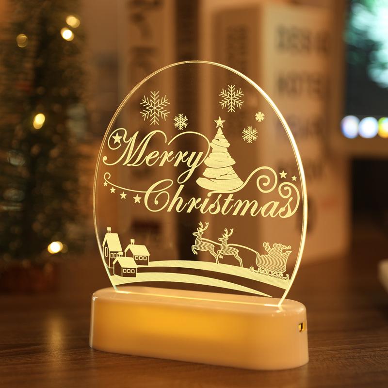 LED Fairy String Lights Battery USB 3D Santa Claus Tree Acrylic Night Light Christmas Decoration