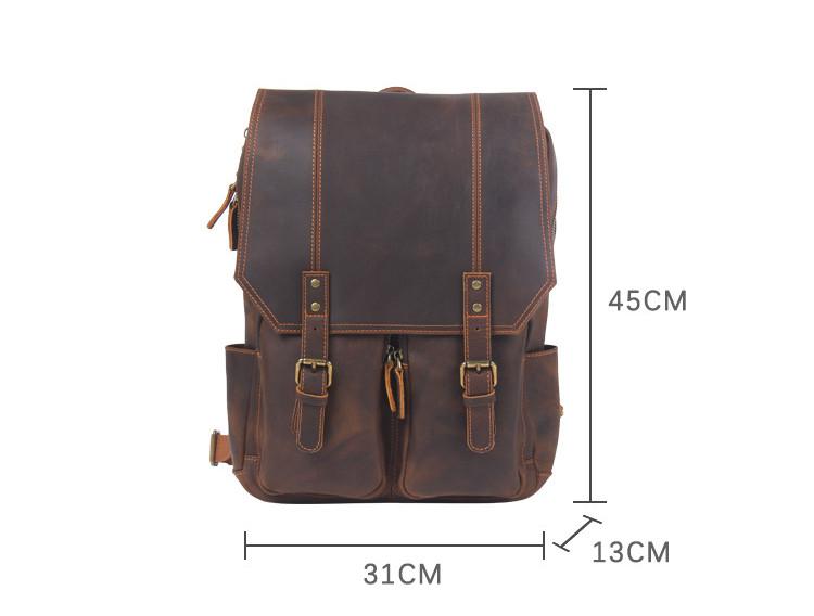 "Measurements in Centimeters Full-Grain Brown Leather Backpack ""Rex"" Gentcreate"
