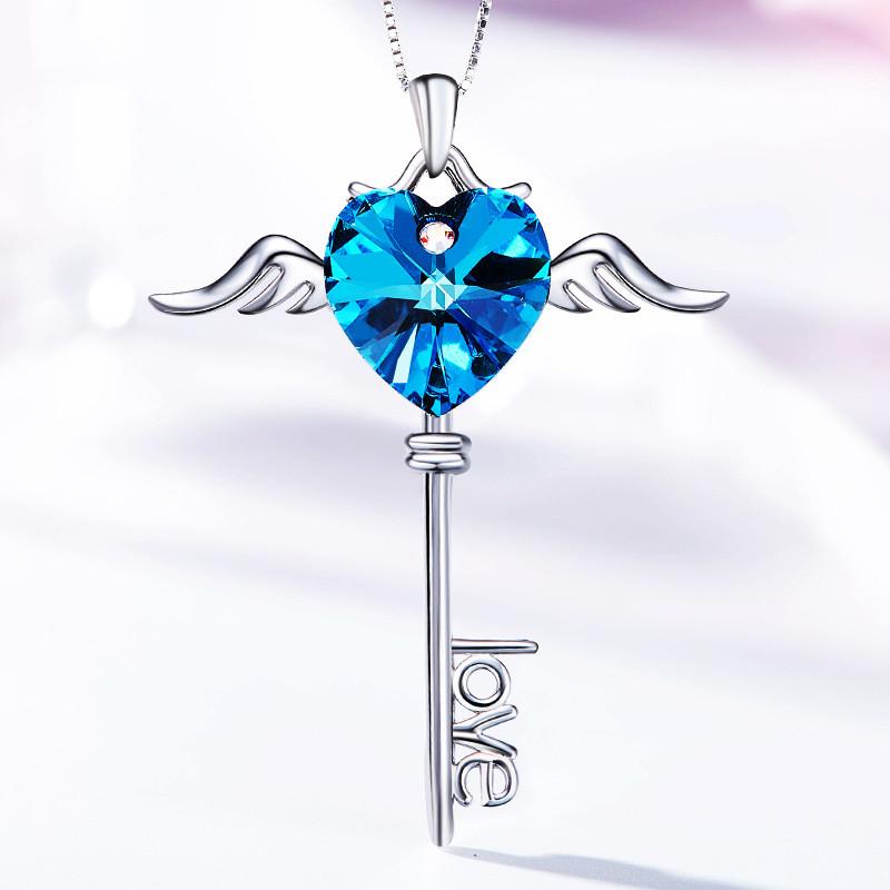 Collier Cœur Bleu Aile