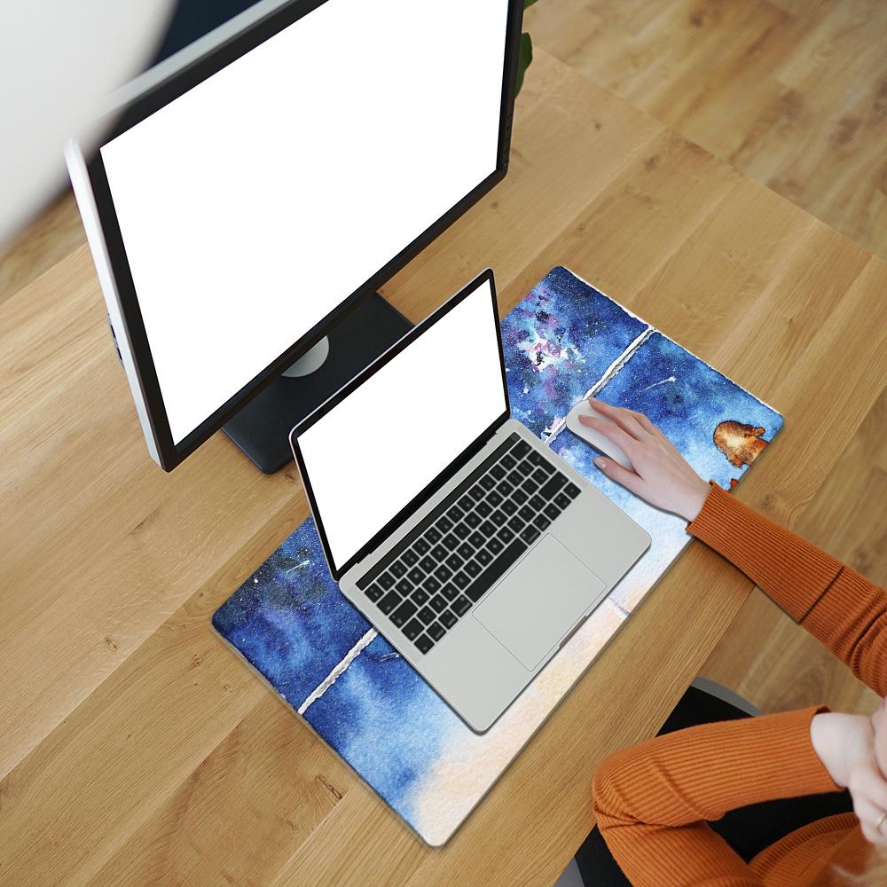 Tapis de souris XXL Aquarelle - Chiens admirant une nuit d'étoiles filantes vue utilisateur