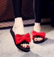 2021 Summer Slippers Women Shoes Bohemian Bow Slides Flat Shoes Woman Flat Slippers Casual Beach Shoes Red
