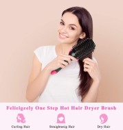 2 in 1 Multifunctional Hair Dryer & Volumizer Hair Brush Roller Rotate Comb Styling Straightening Curling Iron