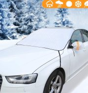 Windshield Snow Cover, Car Window Cover Ice and Snow Cover for Car with 4 Strong Magnets Edge & 4 Layer Material Protection, Large Size Suitable for Most Cars and SUV