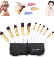 Vander 10 sets of makeup brush set gold tube white