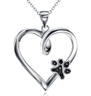 Silver Jewelry Dog Claw Diamond Heart Pendant Necklace Female Amazon Explosions Cross Border