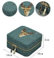 Jewelry Box Lipstick Storage Case Organizer Earring Holder Zipper Women Jewelry Display Embroidery Travel Case