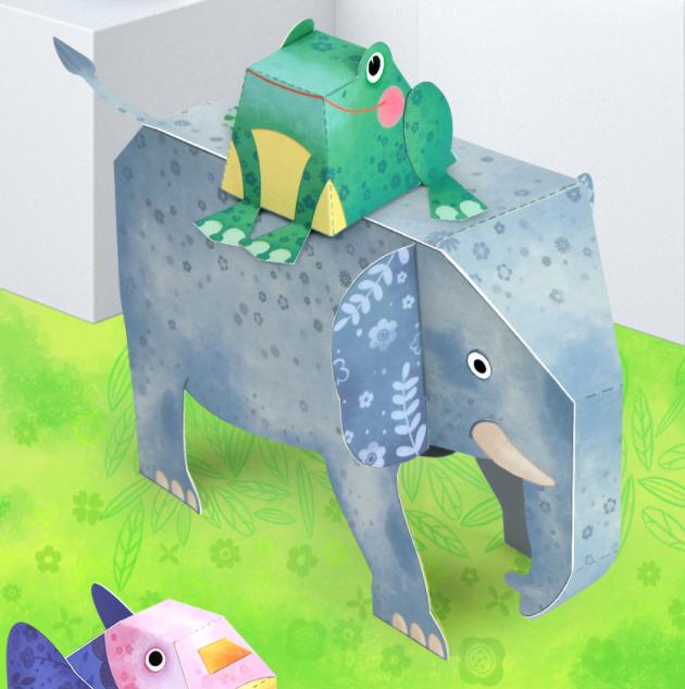 Libro manualidades origami 9 animales 3D_rana y elefante