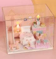 DIY Doll House Furnitures Miniature Doll house Dust Cover Wooden Dollhouse Light House For Dolls Handmade Toys For Children