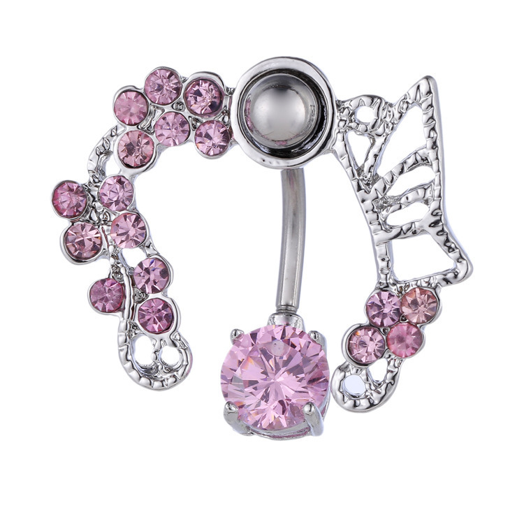 e41adb46-5e0f-4a61-bf84-0a4498419a10 Exchuite Pink Butterfly Zircon Belly Button Ring