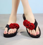 Slippers Women Fashion Women Flower Clip Toe Flip Flops Non-slip Wedges Beach Slippers Shoes Womanach Slippers Shoes Woman