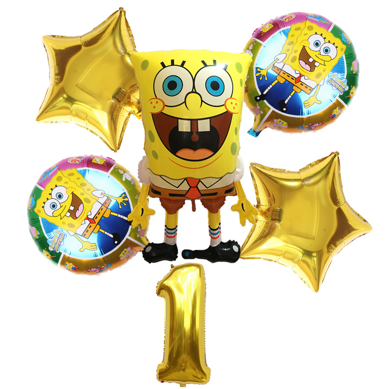 SpongeBob Party Balloons Set With Number 1 - 6