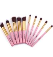 Vander 10 sets of makeup brush set gold tube Pink