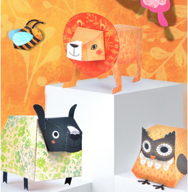 Libro manualidades origami 9 animales 3D_avispa, león, oveja, buho