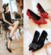 Fine heel suede metal fashion women's shoes