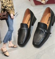 Thick heel square head bow single shoes