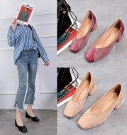 Mid-heel chunky heel slip-on shoes