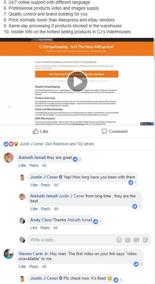 CJ Rating on Facebook
